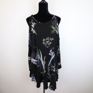 Free People Women's Floral Cold Shoulder Tunic